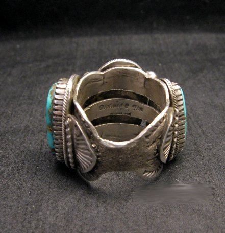 Image 3 of Heavy Navajo Native American Turquoise Silver Ring sz10-1/2 Richard Jim