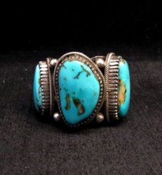 Heavy Navajo Native American Turquoise Silver Ring sz10-1/2 Richard Jim