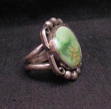 Image 1 of Navajo, Juan Guerro, Kingman Turquoise Silver Ring sz8-3/4