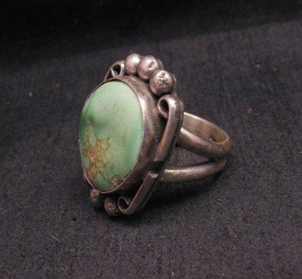 Image 2 of Navajo, Juan Guerro, Kingman Turquoise Silver Ring sz8-3/4