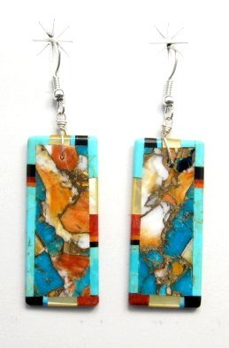 Image 0 of Unique Santo Domingo Kewa Inlaid Slab Earrings, Daniel Coriz