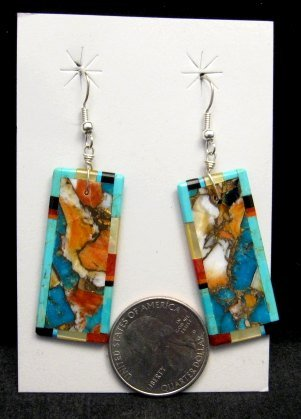 Image 1 of Unique Santo Domingo Kewa Inlaid Slab Earrings, Daniel Coriz