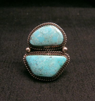 Image 0 of Native American Navajo Candelaria Turquoise Ring sz7-1/2 La Rose Ganadonegro