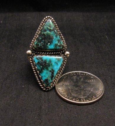 Image 0 of Native American Navajo Double Turquoise Ring sz8, La Rose Ganadonegro
