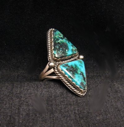 Image 1 of Native American Navajo Double Turquoise Ring sz8, La Rose Ganadonegro