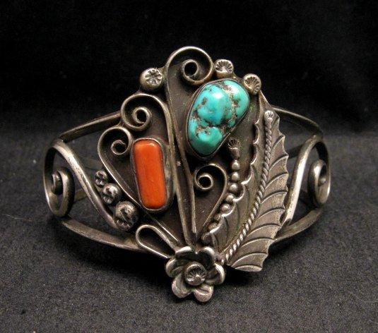 Image 0 of Vintage Navajo Native American Turquoise Coral Silver Bracelet D&J Clark