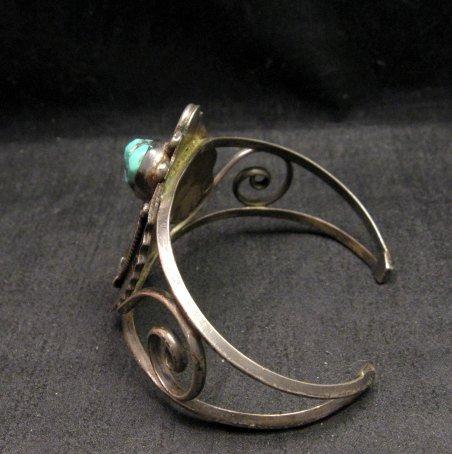 Image 3 of Vintage Navajo Native American Turquoise Coral Silver Bracelet D&J Clark