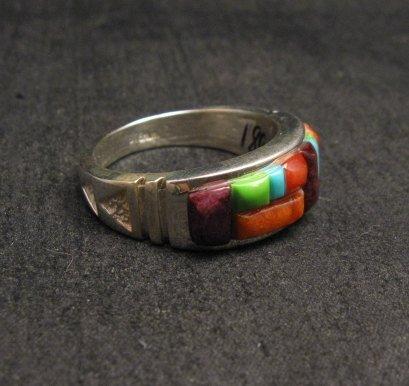 Image 1 of Native American Navajo Cobblestone Inlay Band Ring Sz11, Rick Tolino