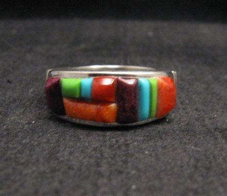 Image 2 of Native American Navajo Cobblestone Inlay Band Ring Sz11, Rick Tolino