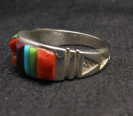 Image 2 of Native American Navajo Cobblestone Inlay Band Ring Sz11, Rick Tolino