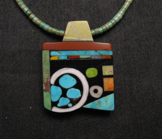 Image 0 of Mary Tafoya Santo Domingo Multi-Stone Inlay Turquoise Heishi Necklace