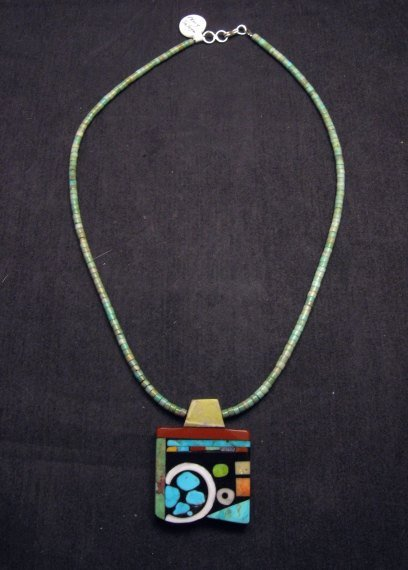 Image 1 of Mary Tafoya Santo Domingo Multi-Stone Inlay Turquoise Heishi Necklace