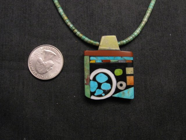 Image 3 of Mary Tafoya Santo Domingo Multi-Stone Inlay Turquoise Heishi Necklace