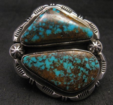 Image 4 of Persian Turquoise Navajo Native American Silver Ring Jewelry Dean Sandoval sz7