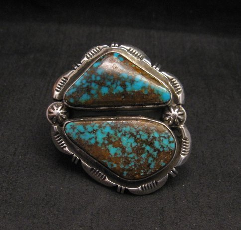 Image 0 of Persian Turquoise Navajo Native American Silver Ring Jewelry Dean Sandoval sz7