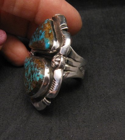 Image 5 of Persian Turquoise Navajo Native American Silver Ring Jewelry Dean Sandoval sz7