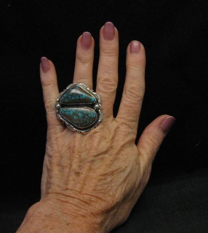 Image 1 of Persian Turquoise Navajo Native American Silver Ring Jewelry Dean Sandoval sz7