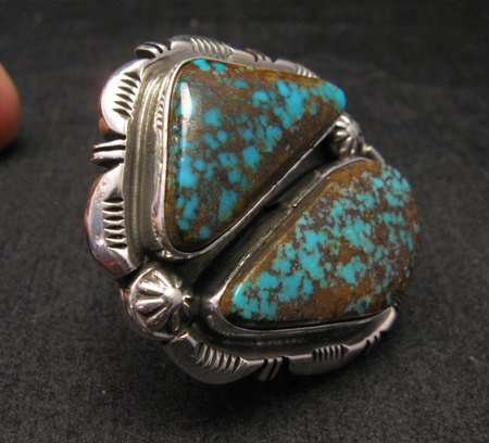 Image 2 of Persian Turquoise Navajo Native American Silver Ring Jewelry Dean Sandoval sz7