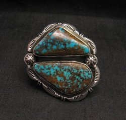 *WOW* Persian Turquoise Navajo Native American Silver Ring Dean Sandoval sz7
