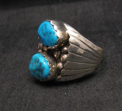 Image 1 of Navajo Indian Turquoise Sterling Silver Ring sz10-7/8, Marlene Martinez