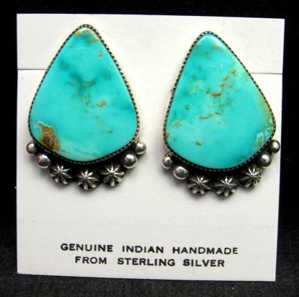 Image 0 of Native American Rosella Sandoval Navajo Turquoise Silver Earrings