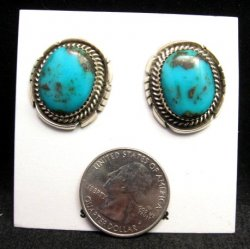 Native American Nevada Turquoise Silver Earrings, Clip-on, H. Etsitty
