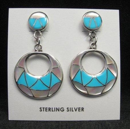 Image 0 of Zuni Turquoise & Mother of Pearl Inlay Drop Earrings by Edison & Laurenda Bobelu