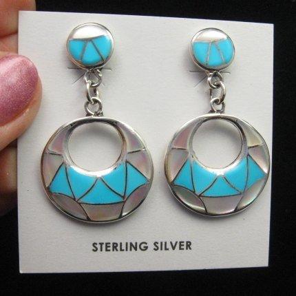 Image 1 of Zuni Turquoise & Mother of Pearl Inlay Drop Earrings by Edison & Laurenda Bobelu