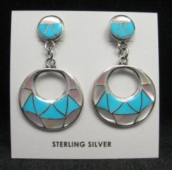 Zuni Turquoise & Mother of Pearl Inlay Drop Earrings by Edison & Laurenda Bobelu