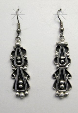 Image 0 of Long Navajo Lorena Johnathan Nez Sterling Silver Dangle Earrings