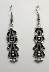 Long Navajo Lorena Johnathan Nez Sterling Silver Dangle Earrings