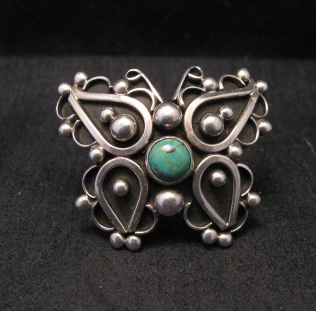Image 0 of Native American Lorena Nez Silver Turquoise Butterfly Ring sz4-1/2
