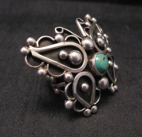 Image 1 of Native American Lorena Nez Silver Turquoise Butterfly Ring sz4-1/2