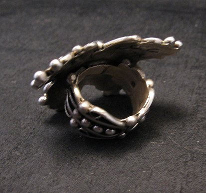 Image 3 of Native American Lorena Nez Silver Turquoise Butterfly Ring sz4-1/2