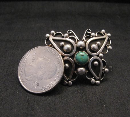 Image 5 of Native American Lorena Nez Silver Turquoise Butterfly Ring sz4-1/2