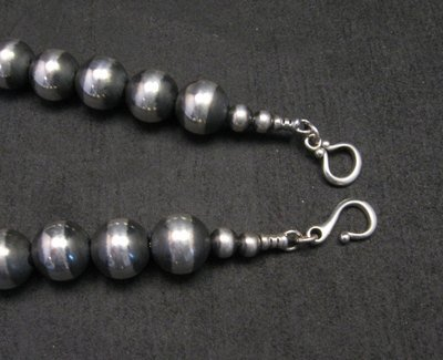 Image 3 of Native American 12mm Bead Navajo Pearls Sterling Silver Necklace 20-inch long