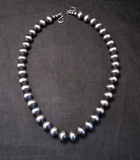 Image 0 of Native American 12mm Bead Navajo Pearls Sterling Silver Necklace 20-inch long