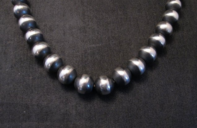 Image 1 of Native American 12mm Bead Navajo Pearls Sterling Silver Necklace 20-inch long
