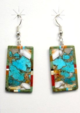 Image 0 of Colorful Santo Domingo Kewa Inlaid Slab Earrings, Daniel Coriz
