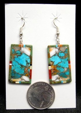 Image 1 of Colorful Santo Domingo Kewa Inlaid Slab Earrings, Daniel Coriz