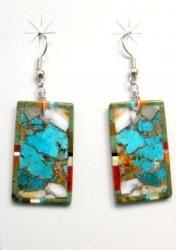 Colorful Santo Domingo Kewa Inlaid Slab Earrings, Daniel Coriz