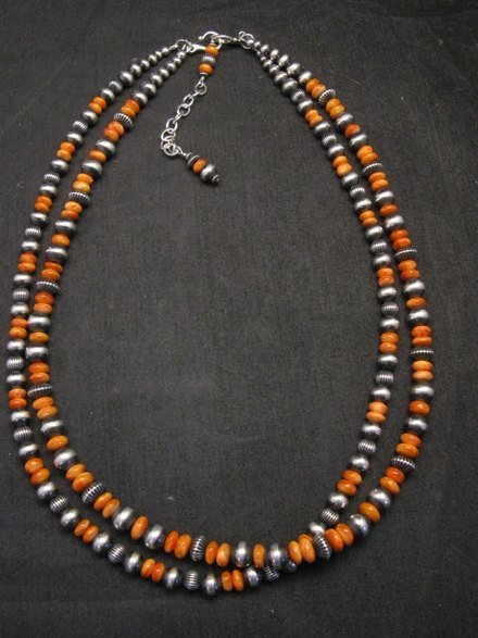 Image 0 of Navajo Spiny Oyster Sterling Silver Bead Necklace 22 inches Marilyn Platero