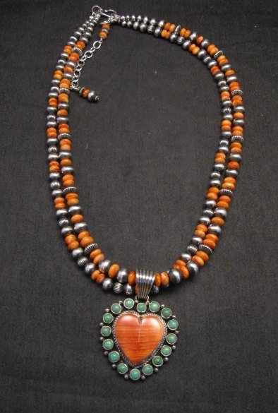 Image 2 of Navajo Spiny Oyster Sterling Silver Bead Necklace 22 inches Marilyn Platero