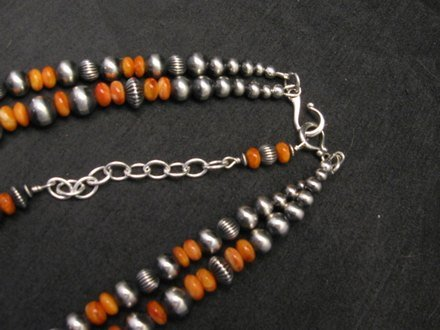 Image 4 of Navajo Spiny Oyster Sterling Silver Bead Necklace 22 inches Marilyn Platero