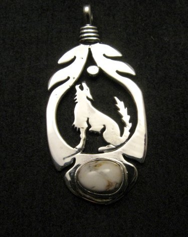 Image 0 of Navajo Sterling Silver  White Buffalo Wolf/Coyote Pendant, Freddy Charley