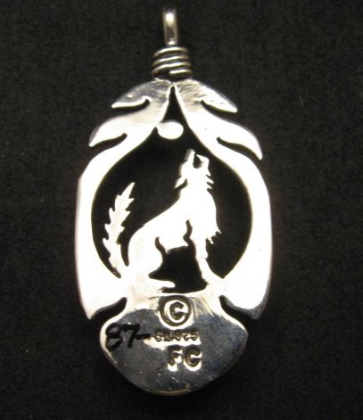 Image 2 of Navajo Sterling Silver  White Buffalo Wolf/Coyote Pendant, Freddy Charley