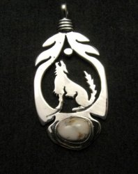Navajo Sterling Silver  White Buffalo Wolf/Coyote Pendant, Freddy Charley