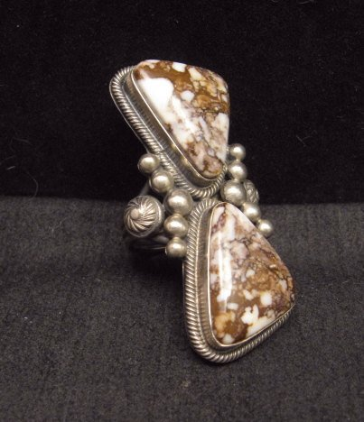 Image 1 of Gloria Begay Navajo 2-stone Wild Horse Sterling Silver Ring sz9