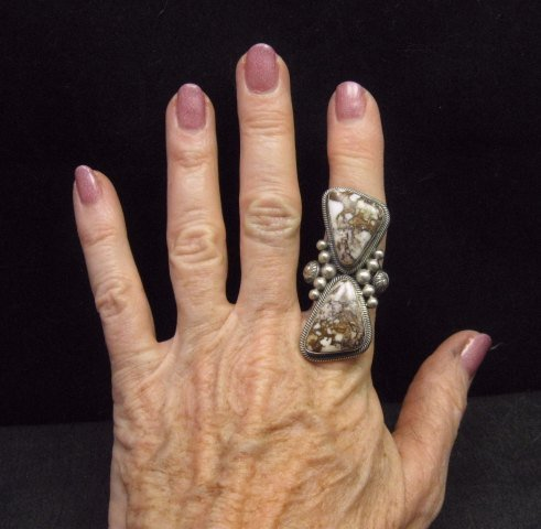 Image 2 of Gloria Begay Navajo 2-stone Wild Horse Sterling Silver Ring sz9