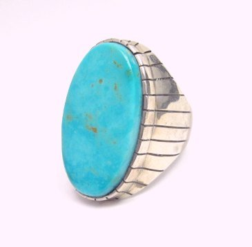 Image 1 of Big Ray Jack, Navajo, Turquoise Sterling Silver Ring Sz12-3/4